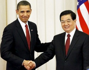 Obama with China's leader, Hu Jintao