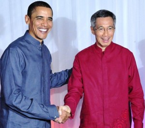 Obama with Singapore's leader, Lee Hsien Loong